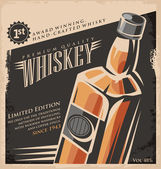Whiskey vintage poster design template — Stock Vector