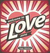 Valentines day vintage tin sign design layout — Stock vektor