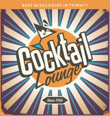 Retro tin sign design for cocktail lounge — Stock Vector