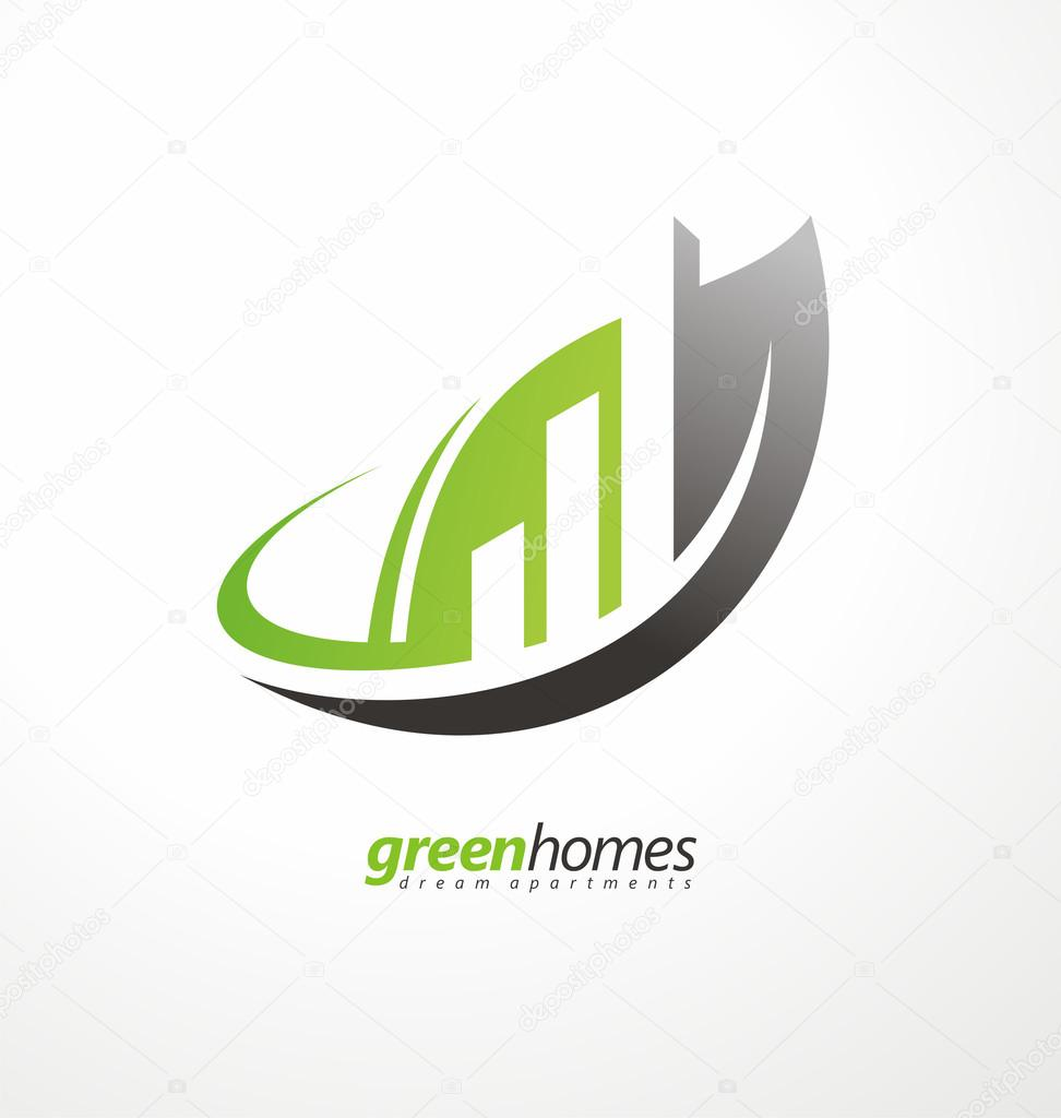 Vector graphic design business logo - Dream Apartments Business Logo Design Vector Concept Leaf Shape With Buildings In Negative Space Real Estate Agency Graphic Design Idea