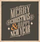 Christmas card template on old paper texture — Stock Vector
