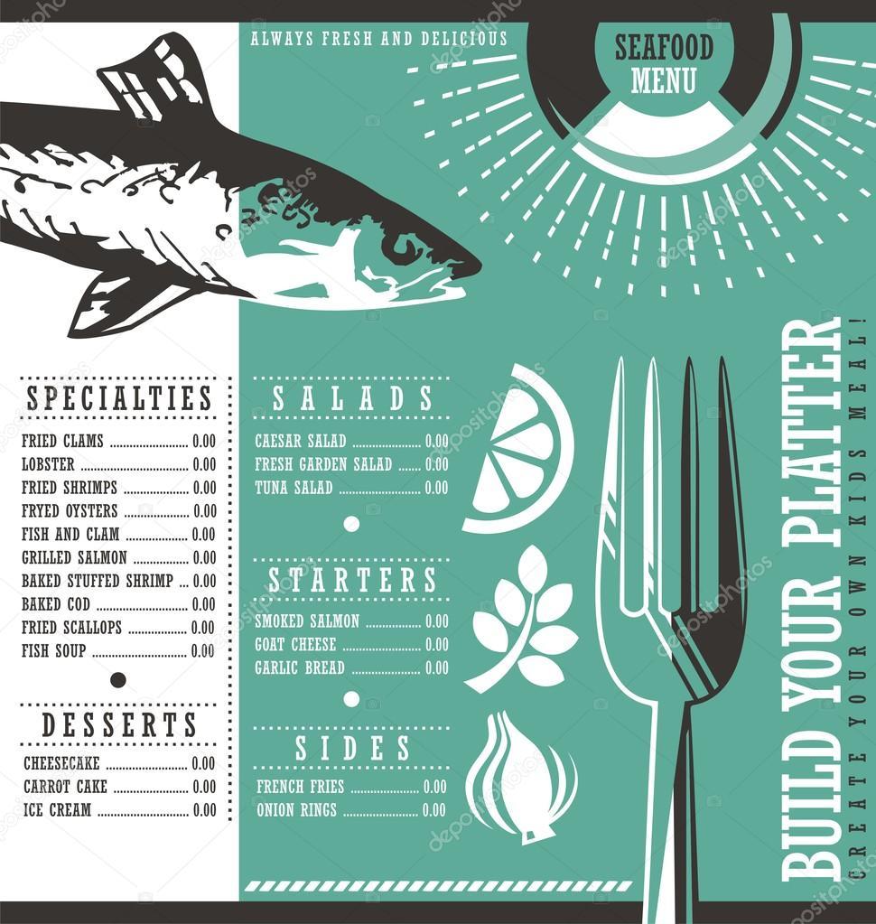 Dise o de men de restaurante de mariscos vector de - Disenos para restaurantes ...