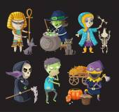 Costumes and haloween characters — Stock Vector