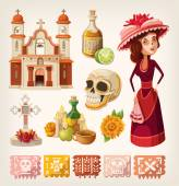 Set of items for day of the dead — Vector de stock