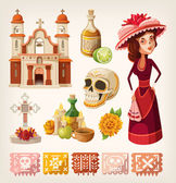 Set of items for day of the dead — Stok Vektör
