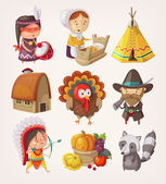 Set of thanksgiving items and characters — Stock Vector