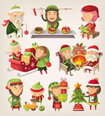 Set of christmas elves — 图库矢量图片