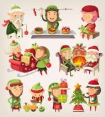 Set of christmas elves — Stock Vector