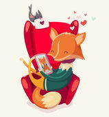 Story of a fox thinking of his girlfriend. — Vetorial Stock