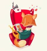 Story of a fox thinking of his girlfriend. — Stock Vector
