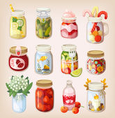 Mason jars with things — Stock Vector
