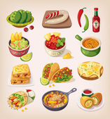 Colorful mexican food — Stock Vector