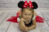 Small girl as a Minnie Mouse — Stock Photo