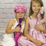 Girls with teddy bears handmade — Stock Photo #59512459