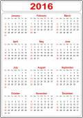 Simple Calendar 2016 — Stock Photo