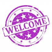 Purple stamp welcome — Foto de Stock