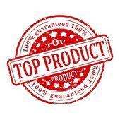 Round red stamp - top product — Zdjęcie stockowe