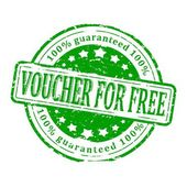 Damaged green stamp - voucher for free — Stock Photo