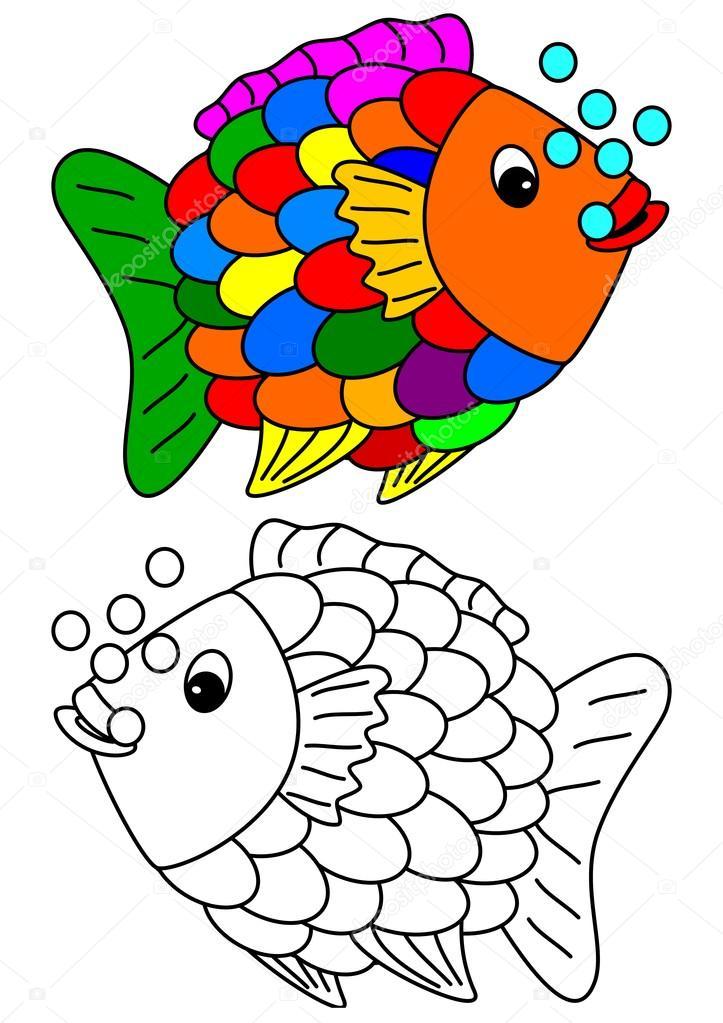 Libro para colorear para ni os peces de colores de color for Immagini da colorare di pesci