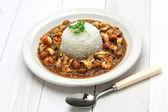 Gumbo with crawfish, chicken & sausage — Stock Photo