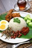 Nasi lemak, coconut milk rice, malaysian cuisine — Stock Photo