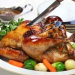 Homemade roast turkey, thanksgiving christmas dinner — Stock Photo #59454485