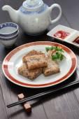 Homemade turnip cake, chinese dim sum dish — Stock Photo