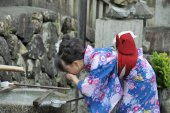 A geisha drinking — Stock Photo