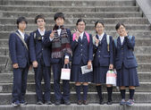 Japanese high school students — Stock Photo