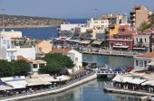 Illustration over the city of Agios Nikolaos Crete Greece — Stock Photo
