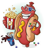 Hot Dog Cartoon At the Movies — Stock Vector