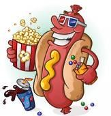 Hot Dog Cartoon At the Movies — Stock Vector