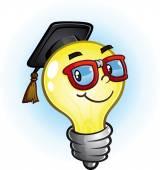 Light Bulb Education Cartoon — Stock Vector