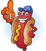 Hot Dog Sports Fan Cartoon — Stock Vector