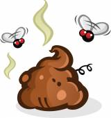 Stinky Poop Pile with Flies Cartoon — Stock Vector