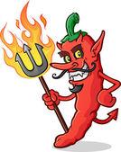 Hot Chili Pepper Devil Cartoon Character — Stock Vector