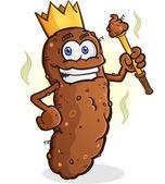 Poop King Cartoon Character — Stock Vector