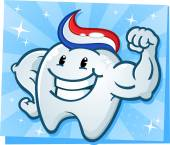 Strong Tooth Flexing Muscles Cartoon Character — Stock vektor