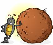 Dung Beetle with a Big Ball of Poop — Stock Vector