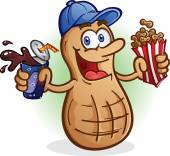 Peanut Cartoon Character Drinking Soda Pop — Stock Vector