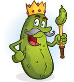 Pickle King Cartoon Character — Stock Vector