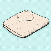 Towel and Washcloth — Stock Vector