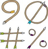 Nine, Zero, Pound and Percent Arrows — Stock Vector