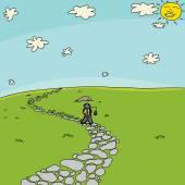 Fisherman Walking on Path in Field — Stockvektor