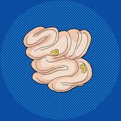 Food Inside Small Intestine — Stock Vector