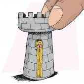 Rapunzel in Rook Piece — Vector de stock