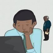 Dormindo no trabalho — Vetor de Stock