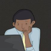 Macho entediado com Laptop — Vetor de Stock