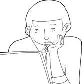 Контурный рисунок скучно человек — Cтоковый вектор
