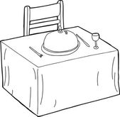 Table and Chair Outline — Vecteur